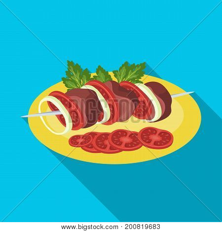 Delicious food, shish kebab and salad. Food and cooking single icon in flat style vector symbol stock illustration .