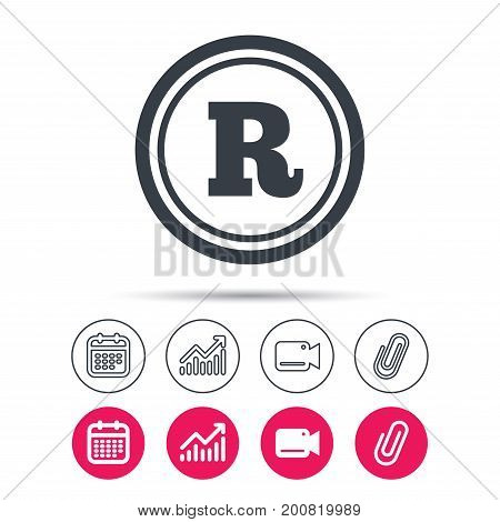 Registered trademark icon. Intellectual work protection symbol. Statistics chart, calendar and video camera signs. Attachment clip web icons. Vector