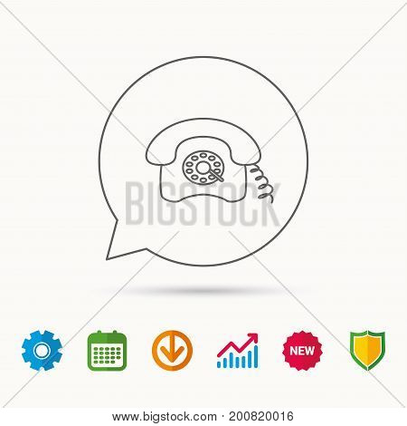 Retro phone icon. Old telephone sign. Calendar, Graph chart and Cogwheel signs. Download and Shield web icons. Vector