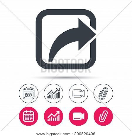 Share icon. Send social media information symbol. Statistics chart, calendar and video camera signs. Attachment clip web icons. Vector