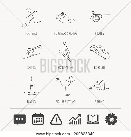Pilates, football and skiing icons. Fishing, diving and figure skating linear signs. Ski jumping, horseback riding and bobsled icons. Education book, Graph chart and Chat signs. Vector
