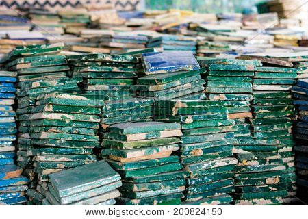 Pile of colored handcrafted tiles in Fez, Morocco