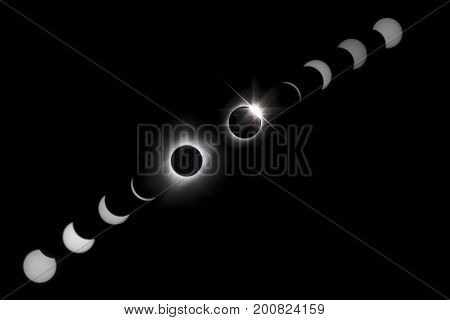 Composite eclipse showing various waxing and waning phases of the solar eclipse as well as totality and the diamond ring effect.