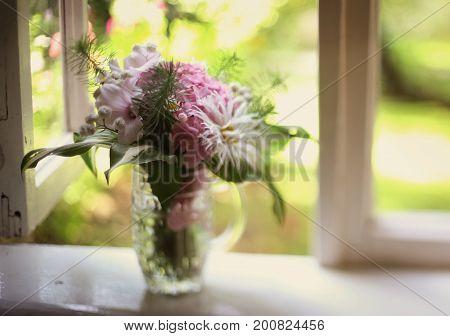 Cute Mini Hydrangea Bouquet In Beer Mug Stay On The Windowsill