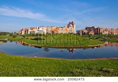 Belarus Minsk View Of A New  Uruchie Micro-district Architectural Complex Water Channel And Recreati