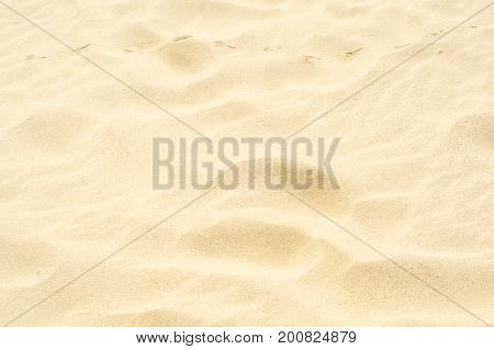 Traces In The Sand, Yellow Sand On The Beach Over The Ocean, Seaside Spot