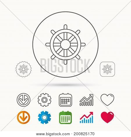 Ship steering wheel icon. Captain rudder sign. Sailing symbol. Calendar, Graph chart and Cogwheel signs. Download and Heart love linear web icons. Vector