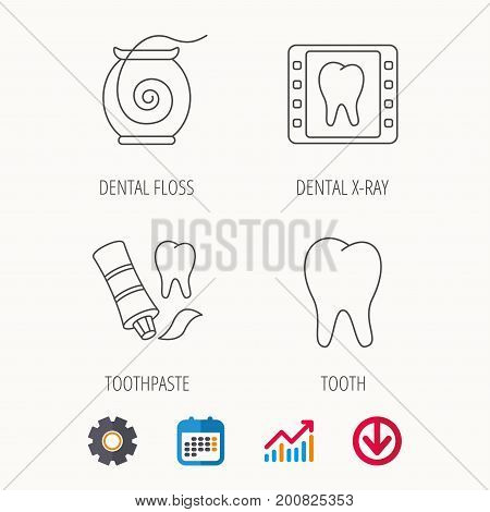 Dental floss, tooth and toothpaste icons. Dental X-ray linear sign. Calendar, Graph chart and Cogwheel signs. Download colored web icon. Vector