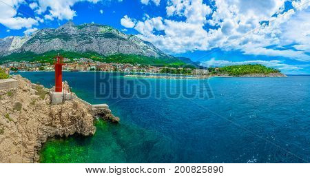 Scenic coastal view at Makarska town in Croatia, old famous tourist resort.
