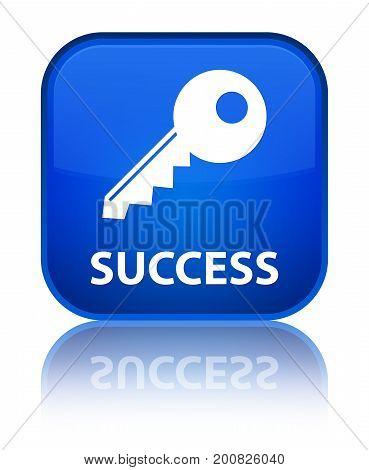 Success (key Icon) Special Blue Square Button