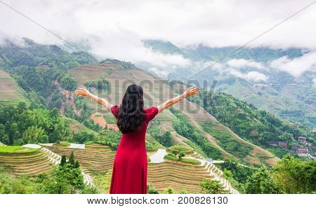 Girl Enjoying Rice Terrace Viewpoint