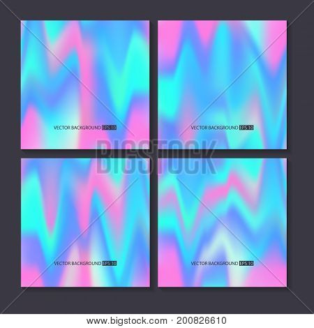 Hologram bright colorful backgrounds set. Vector mesh template. Design for greeting card