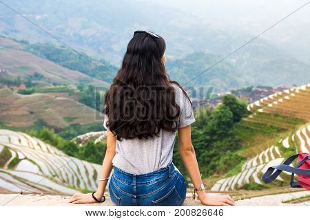 Girl Sitting At Rice Terrace Viewpoint