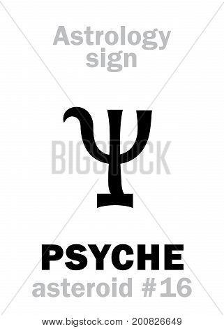 Astrology Alphabet: PSYCHE, asteroid #16. Hieroglyphics character sign (single symbol).