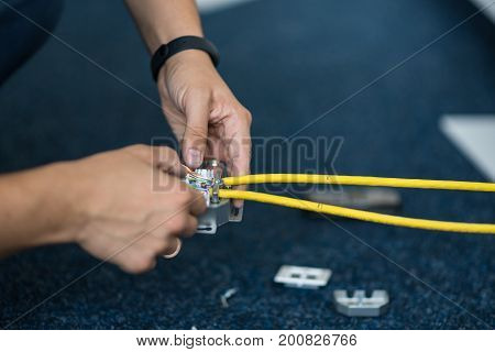 Specialist Connect A Network Cable With Rj45 Sockets, Process Of Laying The Local Network. Set