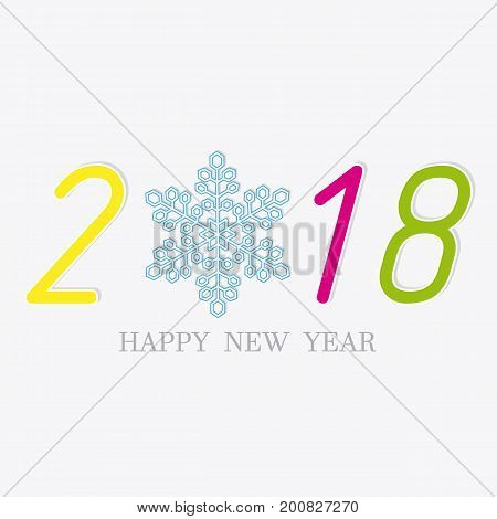 Card new year card. 2018 with isolated background