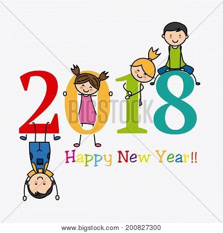 2018. Happy New Year. Children playing with numbers
