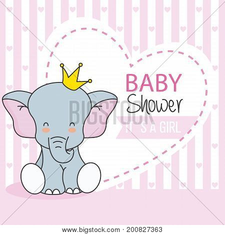 baby shower girl. Cute Elephant with crown