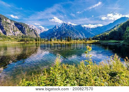 Scenic Alpine Lake Almsee Austria. Lake Alm Salzkammergut in the Almtal Valley. Summer Scenery.