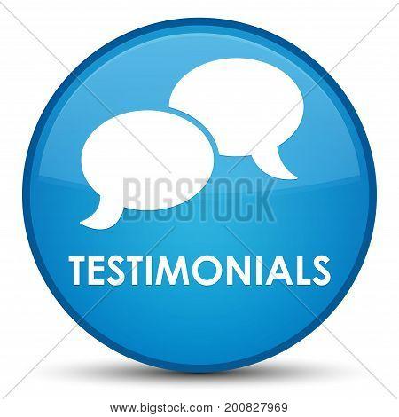 Testimonials (chat Icon) Special Cyan Blue Round Button