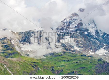 Matterhorn Summit in Monte Rosa Area of the Pennine Alps in Italy. Mont Cervin.