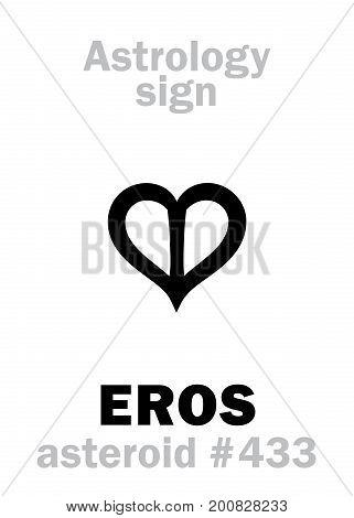 Astrology Alphabet: EROS, asteroid #433. Hieroglyphics character sign (single symbol).