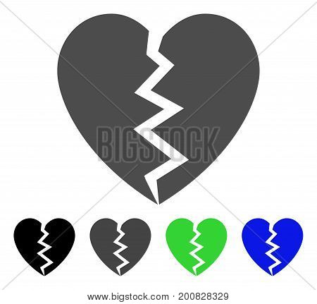 Broken Heart flat vector illustration. Colored broken heart, gray, black, blue, green pictogram versions. Flat icon style for graphic design.