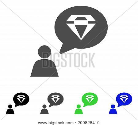 Diamond Thinking Person flat vector pictograph. Colored diamond thinking person, gray, black, blue, green pictogram variants. Flat icon style for graphic design.