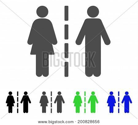 Divorce Line flat vector pictograph. Colored divorce line, gray, black, blue, green pictogram versions. Flat icon style for web design.