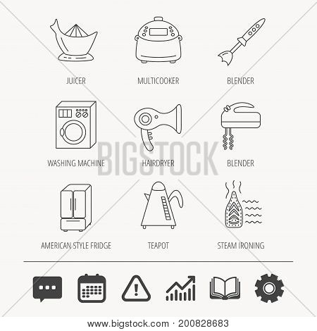 Washing machine, teapot and blender icons. Refrigerator fridge, juicer and steam ironing linear signs. Hair dryer, juicer icons. Education book, Graph chart and Chat signs. Vector