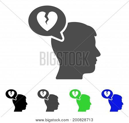 Divorce Thinking Man flat vector illustration. Colored divorce thinking man, gray, black, blue, green pictogram variants. Flat icon style for web design.