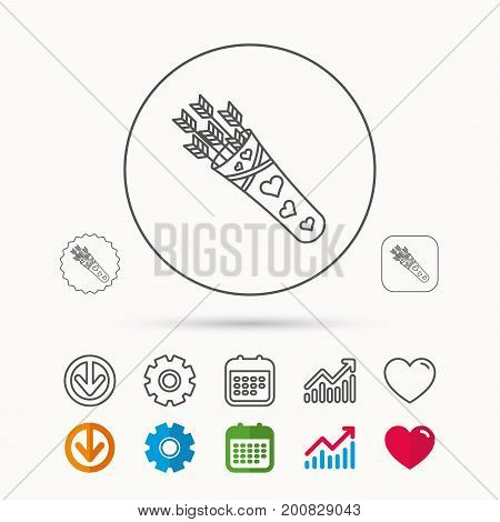 Cupid arrows icon. Love weapon sign. Calendar, Graph chart and Cogwheel signs. Download and Heart love linear web icons. Vector