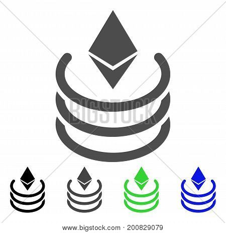 Ethereum Portal flat vector icon. Colored ethereum portal, gray, black, blue, green icon versions. Flat icon style for application design.