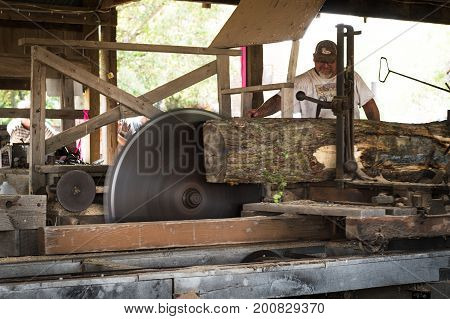 HASTINGS MN - JULY 30 2017: Saw operator feeds wood through steam powered sawmill at steam threshing event. Steam powered machines were in common usage throughout the 1800's and into the 1900's.