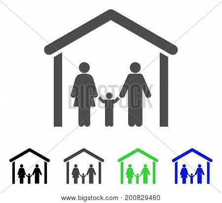 Family Cabin flat vector icon. Colored family cabin, gray, black, blue, green pictogram variants. Flat icon style for web design.