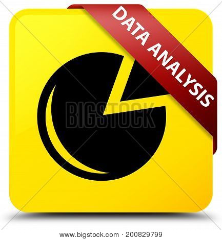Data Analysis (graph Icon) Yellow Square Button Red Ribbon In Corner