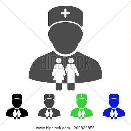 Family Doctor flat vector pictograph. Colored family doctor, gray, black, blue, green icon versions. Flat icon style for graphic design.