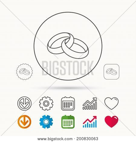 Wedding rings icon. Bride and groom jewelery sign. Calendar, Graph chart and Cogwheel signs. Download and Heart love linear web icons. Vector
