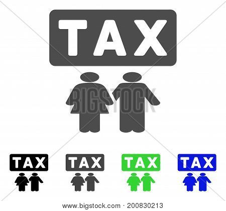 Family Tax Pressure flat vector pictograph. Colored family tax pressure, gray, black, blue, green icon versions. Flat icon style for web design.