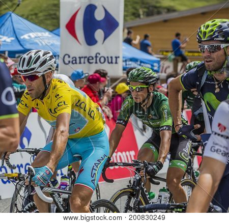 Col du Lautaret France - July 19 2014:Vincenzo Nibali of Team Astana wearing the Yellow Jersey arrives on mountain pass Lautaret during the stage 14 of Le Tour de France 2014.