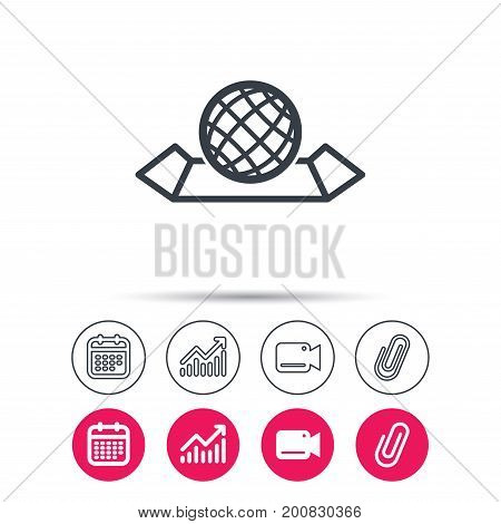 World map icon. Globe sign. Travel location symbol. Statistics chart, calendar and video camera signs. Attachment clip web icons. Vector