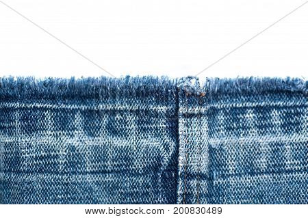 Fabric texture of jeans and white background with place for text.