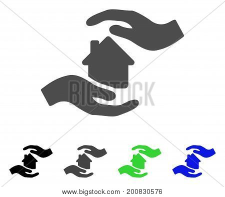 House Care Hands flat vector pictogram. Colored house care hands, gray, black, blue, green pictogram variants. Flat icon style for graphic design.
