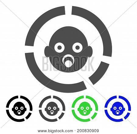Newborn Diagram flat vector illustration. Colored newborn diagram, gray, black, blue, green pictogram variants. Flat icon style for application design.