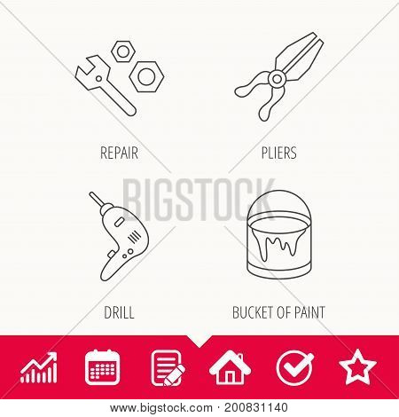 Wrench tool, pliers and drill icons. Bucket of paint linear signs. Edit document, Calendar and Graph chart signs. Star, Check and House web icons. Vector
