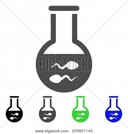 Sperm Flask flat vector pictograph. Colored sperm flask, gray, black, blue, green icon versions. Flat icon style for application design.