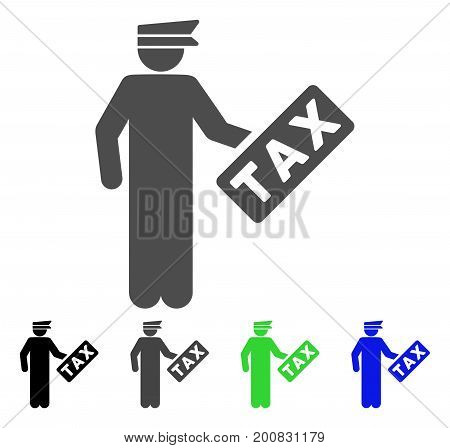 Tax Officer flat vector illustration. Colored tax officer, gray, black, blue, green pictogram versions. Flat icon style for application design.