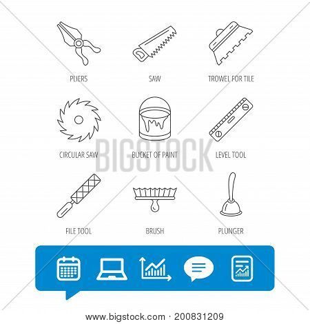Trowel for tile, saw and brush tool icons. Level and file tool, bucket of paint linear signs. Plunger, pliers icons. Report file, Graph chart and Chat speech bubble signs. Vector