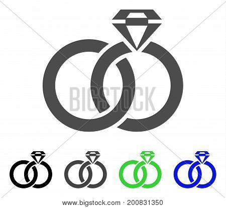 Wedding Rings With Gem flat vector pictogram. Colored wedding rings with gem, gray, black, blue, green icon versions. Flat icon style for application design.