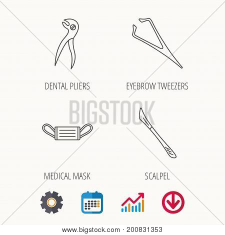 Medical mask, scalpel and dental pliers icons. Eyebrow tweezers linear sign. Calendar, Graph chart and Cogwheel signs. Download colored web icon. Vector